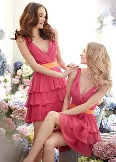 New Style DB103 Rockabilly Ruffles Sexy V Neck Coral Chiffon Bridesmaid Dresses Short(China (Mainland))