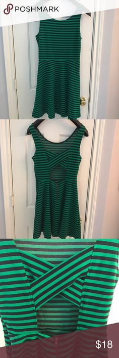 🔴SOLD🔴American Eagle navy green striped dress American Eagle green and Navy striped mini dress. Cross cross back with gold back zipper. Also has hidden side supper with hook and eye. Made of a nice this fabric. Has spandex in it, soft and stretchy. Gently used, no flaws. American Eagle Outfitters Dresses Mini