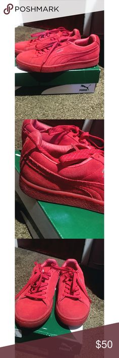 Women's red puma-firm price Worn like 3 times  I absolutely love these  Nothing wrong with them women's 7.5 Puma Shoes Sneakers