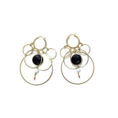 Jezebel multi Hoop and black crystal earrings