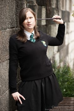 Slytherin Student by Samii-Doll on DeviantArt Slytherin, Hogwarts, Pride, Cold Shoulder Dress, Student, Cosplay, Dolls, Witches, Badge