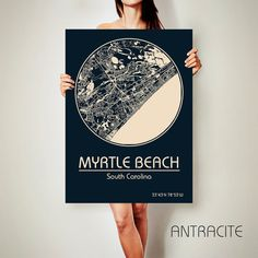 MYRTLE BEACH South Carolina CANVAS Map Myrtle Beach South Carolina Poster City Map Myrtle Beach South Carolina Art Print Myrtle Beach