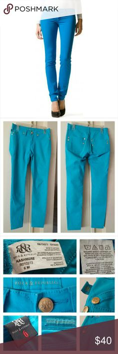 """Rock & Republic Kashmere Blue Skinny Jeans No trades! 30"""" inseam. 28"""" waist. 8 1/2"""" rise. A few small stains as pictured. Gently used. Thanks for looking! Rock & Republic Jeans Skinny"""