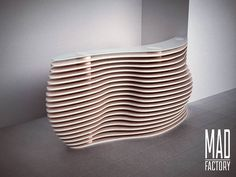 Discover thousands of images about Parametric World Modern Reception Desk, Reception Desk Design, Unique Furniture, Furniture Projects, Furniture Design, Parametric Design, Cardboard Furniture, Retail Design, Wood Design