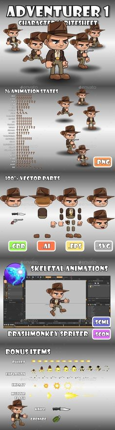 Adventurer Character 1 — Vector EPS #tomb raider #game • Available here → https://graphicriver.net/item/adventurer-character-1/13443945?ref=pxcr