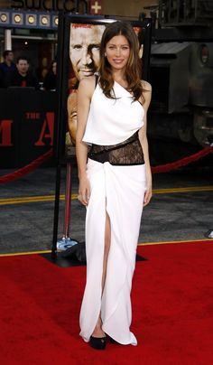 Jessica Biel showed off her svelte figure in a one-shoulder Pucci gown with a black lace under-bodice and high side slit.