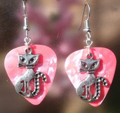 Sitting Kitty Guitar Pick Earrings - Your Choice of Color. $6.00, via Etsy.