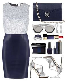 """""""Blue & Silver"""" by the-messiah ❤ liked on Polyvore featuring Unique, Calvin Klein, Aspinal of London, Bobbi Brown Cosmetics, OPI, Estée Lauder and Linda Farrow"""