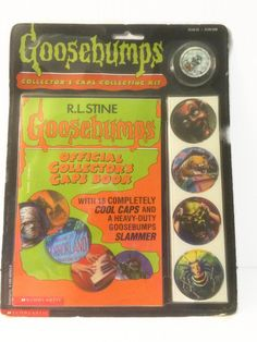 aad3c9041ac Goosebumps Official Collector s Caps Collecting Kit Book 16 Caps Pogs    Slammer R.L. Stine Scholastic 1995