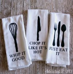 Turn plain kitchen towels into ones whose pun game is on point.
