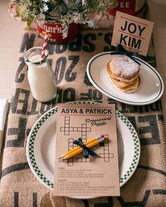 Breakfast wedding reception @Seattle Met and Seattle Met B&G. Printed goods by Real Card Studio.