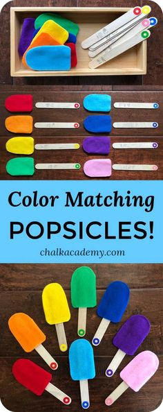 Color matching popsicles are a fun way for kids to learn about colors! Here are… Color matching popsicles are a fun way for kids to learn about colors! Here are DIY tips and Montessori-inspired advice for teaching colors! Toddlers And Preschoolers, Diy Montessori, Montessori Activities, Montessori Color, Montessori Elementary, Montessori Materials, Kids Learning Activities, Toddler Activities, Nursery Activities