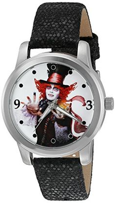 Disney Women's 'The Mad Hatter' Quartz Metal Automatic Watch, Color:Black (Model: W003065) * Read more  at the image link.