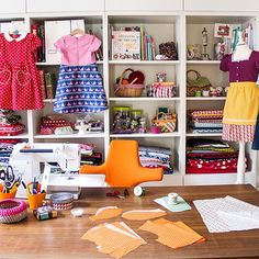 Neat and tidy sewing space.
