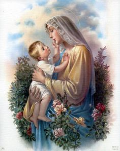 Dear Holy Mary, Mother of God, Queen of the Holy Rosary, pray for us sinners, now and at the hour of death. Madonna Und Kind, Madonna And Child, Blessed Mother Mary, Blessed Virgin Mary, Happy Mothers, Catholic Art, Religious Art, Catholic Quotes, Roman Catholic