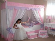 Awesome Little Girls Bedroom Design Ideas With Stands Free Canopy Bed And Medium Framed Bay Window And Ergonomic Seats In Small Space Wallpaper Charming Little Girl Bedroom Decorating Ideas added with Cute Accessories Photo Kids bedroom Wallpaper. Home Gallery Furniture