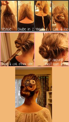 1. tease the crown of your head to get some volume  2. divide your hair into two sections  3. Starting with the left side, twist the hair all the way down and coil it up in a bun in the middle of your head  4. Secure with a clear elastic and 2-3 pins  5. Then twist and coil the right side all the way down. Wrap that section around the first bun we have created. Secure with 5-6 bobby pins