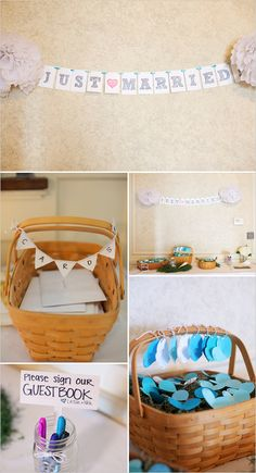 all of this is too cute for a homemade wedding maybe just some different baskets ?? Rustic but chic wedding day ideas.
