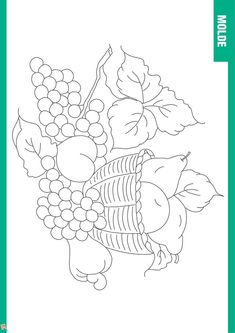 47 risks for painting on fabric Sketchbook Drawings, Pencil Art Drawings, Easy Drawings, Cat Coloring Page, Free Coloring Pages, Coloring Books, Hand Embroidery Designs, Embroidery Patterns, Fruit Basket Drawing