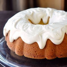 Vanilla does not take a back seat in this rich, very flavourful cream cheese bundt cake. A generous cover of vanilla cream cheese glaze adds more indulgence