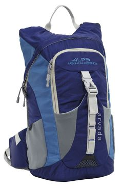 ALPS Mountaineering Arvada Daypack, Blue. Blue, lightweight polyester ripstop; Hydration pocket and port. Includes three liter bladder with insulated tube. Front stretch neoprene pockets; Side neoprene water bottle pocket. Padded back with air flow channel; Rescue whistle buckle on sternum strap. Capacity: 1220 cubic Inch/20L; Weight: 1 pound, 11 ounces; SKU 6011102.