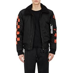 Off-White c/o Virgil Abloh Men's Embroidered Crop Bomber Jacket ($2,025) ❤ liked on Polyvore featuring men's fashion, men's clothing, men's outerwear, men's jackets, black, mens flight jacket, mens blouson jacket, mens jackets and mens bomber jacket