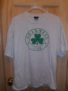 8de80b174 Guinness 1759 XL White T-Shirt Green Shamrock 100% Cotton Authentic St.  Patricks
