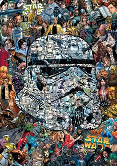 Star wars collage showing the helmet of a Stormrooper. Made from fifty comics.
