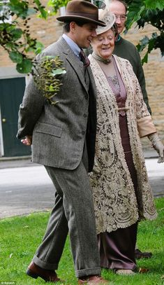 Come stroll with me: Branson and Dowager Countess of Grantham walked through the village together   ..rh