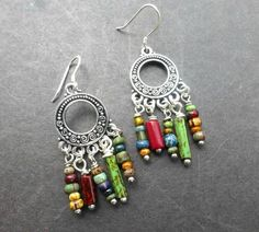 Bohemian earthy colored Czech glass beads and sterling silver earrings. -  - McKee Jewelry Designs - 2