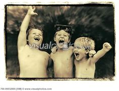 Three Boys Laughing Outdoors