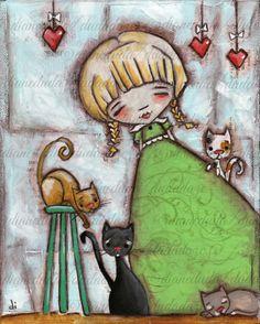 "Original Mixed Media Painting by Diane Duda  ""Me and a Few of my Cats"" by DUDADAZE ©dianeduda/dudadaze"