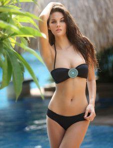 Sexy Concise Black Lycra Spandex Womens Bikini Set