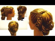 ▶ Прическа с плетением на новый год.Плетение на длинные волосы. Hairstyle for New year 2 - YouTube
