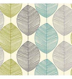 Papel pintado hojas grandes modernas turquesas y verdes - 40783