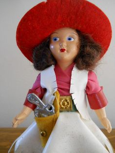 4466a09a2f9 1940s or 50s Vintage Cowgirl Doll with Original Box Rare Cowboy Hat