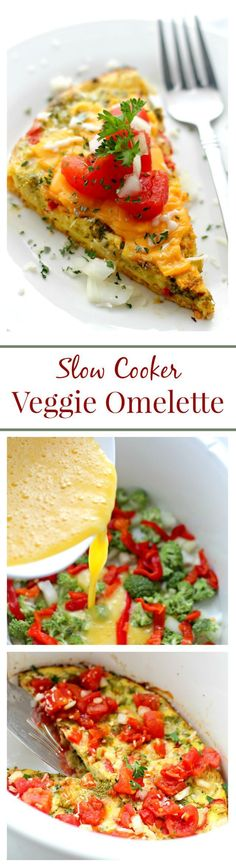 Slow Cooker Veggie Omelette Get your Christmas Day started right with a delicious and simple breakfast omelette cooked in the crock pot! Slow Cooker Breakfast, Breakfast Crockpot Recipes, Healthy Recipes, Brunch Recipes, Vegetarian Recipes, Eggs Crockpot, Overnight Crockpot Breakfast, Crockpot Veggies, Brunch Ideas