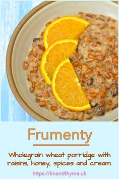 Frumenty. Frumenty is an indulgent yet healthy and sustaining start to the day. It's a traditional soft but chewy wholegrain wheat porridge, sweetened with raisins and honey, gently spiced and enriched with cream and orange zest. It's really simple to make, but needs time for the grains to cook properly. #TinandThyme #BreakfastRecipe #ChristmasRecipes #PorridgeRecipe #frumenty Breakfast Dishes, Breakfast Recipes, Porridge Recipes, Sweet Spice, Orange Zest, Slow Food, Savoury Dishes, Vegetarian Recipes