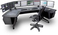 What is the setup for day trading at . Pc Gaming Desk, Computer Desk Setup, Computer Workstation, Gaming Room Setup, Pc Desk, Studio Desk, Studio Setup, Cbx 250, Trading Desk