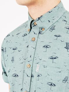 Deckchair Print Short Sleeve Shirt | Bright Green | Ben Sherman