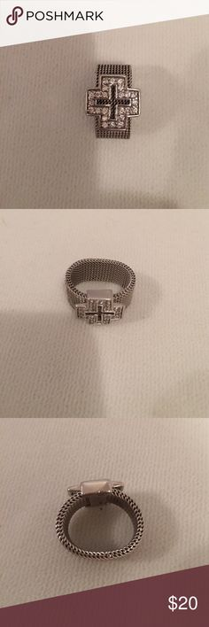 925 sterling Silver cubic zirconia cross ring Nice sterling silver mesh band cubic zirconia size 5 ring Jewelry Rings