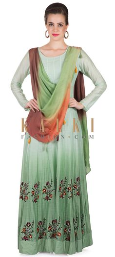 Shaded Mint Green Cotton Gown Featuring Resham Work and Attached Dupatta only on Kalki