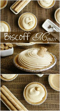 Biscoff Mousse Recipe Creamy Biscoff Mousse piped into mini graham cracker pie shells- decadent and simple at the same time! {Peanut Butter may be substituted for Biscoff. Just Desserts, Delicious Desserts, Dessert Recipes, Yummy Food, French Desserts, Dessert Cups, Speculoos Cookie Butter, Butter Cookies Recipe, Biscoff Cookies