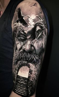 Realistic tattoos with morphing effects by Benji Roketlauncha - Top tattoo . - Realistic tattoos with morphing effects by Benji Roketlauncha – top tattoos – - Hai Tattoos, Body Art Tattoos, Cool Tattoos, Wing Tattoos, Forearm Tattoos, Tattoo Odin, Raven Tattoo, Viking Tattoos For Men, Tattoos For Guys