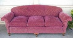 maroon chenille sofa ♥♥ Reminds me of grandma's couch Mish Mash, Pink Houses, Sofa, Couch, Sit Back, Vintage Furniture, 1930s, Love Seat, Living Room