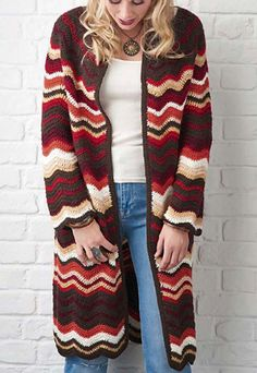 Fun to hook and seriously Seventies, this zigzag coat isn't for wallflowers. If you love retro style but aren't so keen on the autumnal palette, choose eight shades of DK you adore and get hooking.