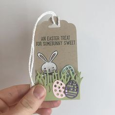 Inspiration: Easter bunny egg hunt tag ~ Stampin Up Basket Bunch Easter Projects, Easter Crafts, Easter Ideas, Easter Gift, Easter Bunny, Card Tags, Gift Tags, Handmade Tags, Easter Weekend