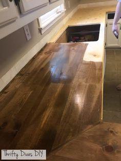 Thrifty Divas DIY- Wide Plank Butcher Block Countertops
