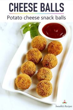These fried cheese snack balls are an awesome weekend snack! Made with potato mozzarella cheese spices and herbs these are delicious crisp with bursting flavors. Potato Cheese Balls Recipe, Cheese Ball Recipes, Appetizer Recipes, Snack Recipes, Tasty Vegetarian Recipes, Beef Recipes, Cooking Recipes, Healthy Recipes, Potato Recipes