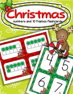 Christmas numbers FREE This is a set of number flashcards flash cards plus a set of flashcards, with the theme of Christmas. Use them to make games according to your group's needs, for centers, individual work, and small group teaching. Christmas Math, Preschool Christmas, Christmas Activities, Kindergarten Activities, Christmas Themes, Preschool Activities, Number Flashcards, School Holidays, 10 Frame
